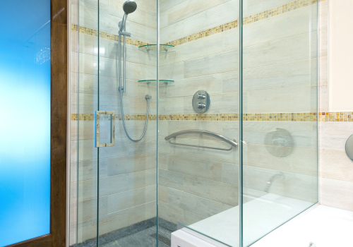 custom glass enclosed shower area with no threshold a seamless transition