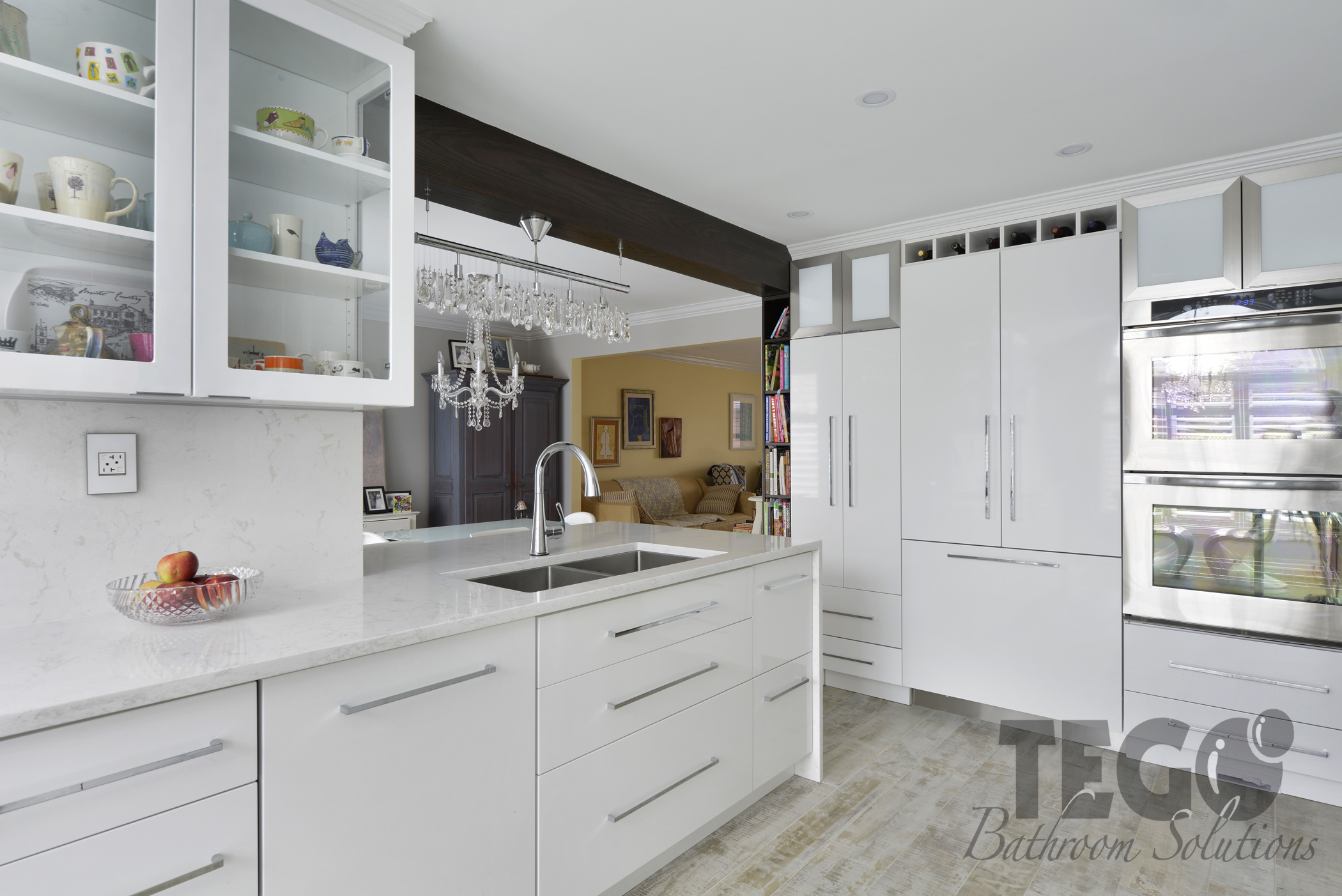 Kitchen bathroom solutions - New Kitchen Supporting Beam Cabinets And Hidden Fridge