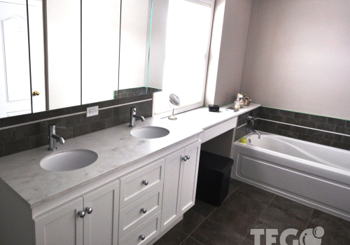 Mirror–faced doors on a medicine cabinet above twin undermounted sinks